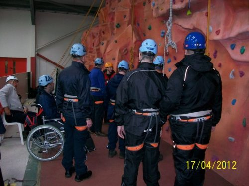 EnergEyes group preparing to climb the wall
