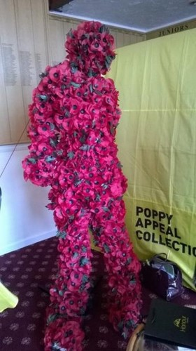 A Statue made from Poppies