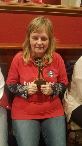 JULIE WITH HER DARTS TROPHY