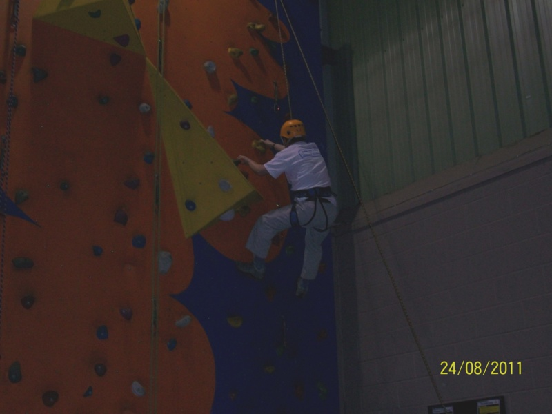 Andrew Lindell climbing wall at Hans Price Gym