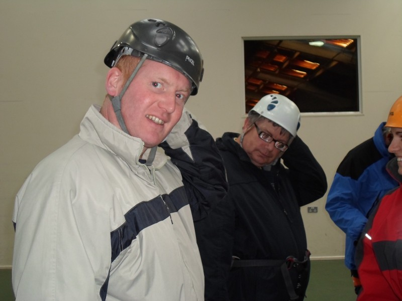 Paul and Ernest getting geared up to abseil