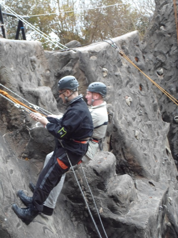Nick and Paul abseiling
