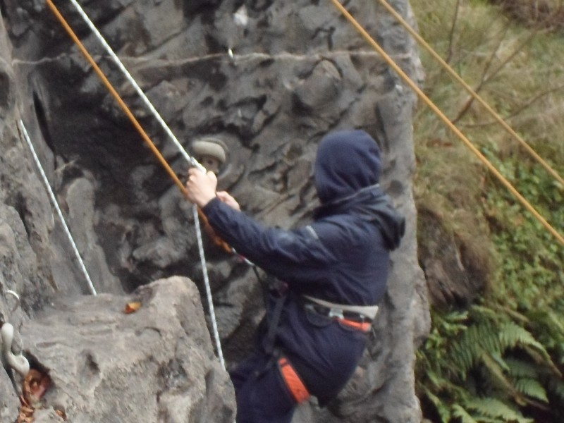 James abseiling