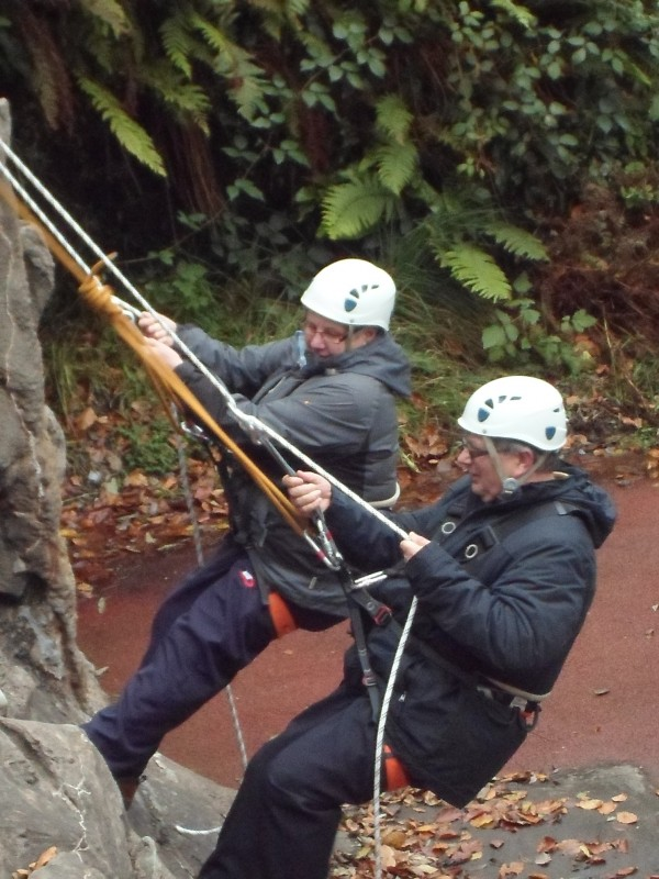 Barbara and Ernest abseiling