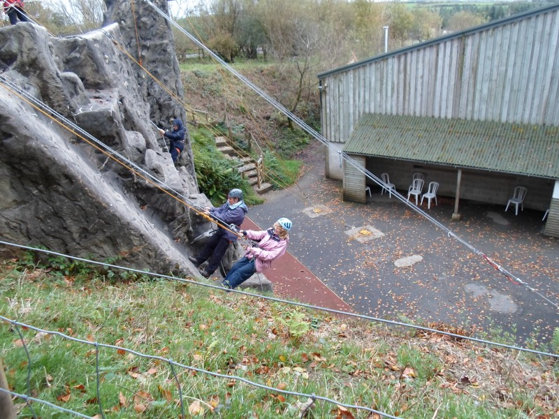 Aileen and June abseiling