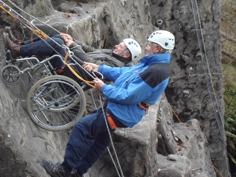 Russ and Spud and the wheelchair abseiling