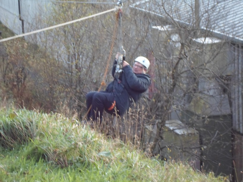 Ernest on the zip wire. Wow!!!