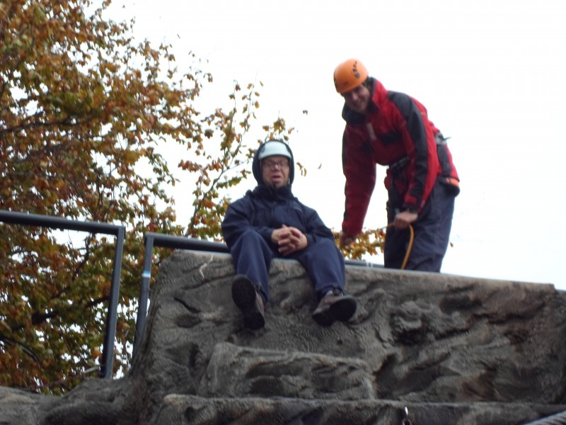 James has arrived at the top and needs a sit down, capably watched by Oli!!