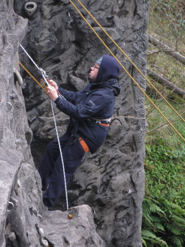 James on his way up the wall