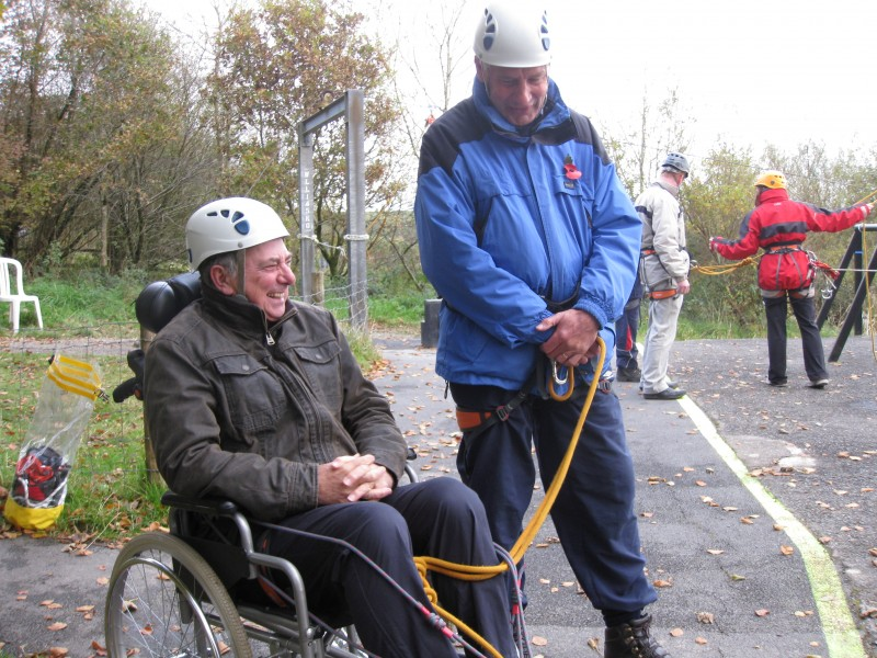 Spud and Russ preparing to abseil with the wheelchair 30th October 2012
