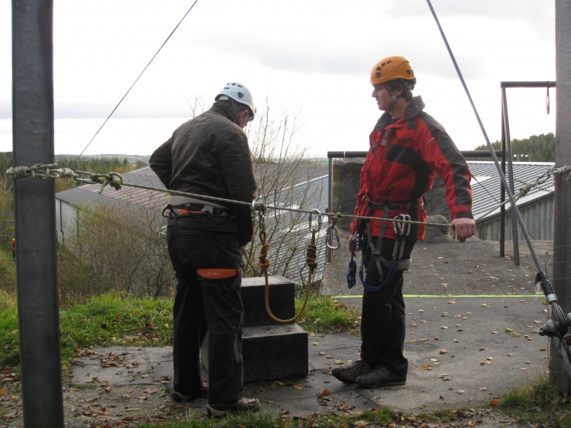 Russ preparing to use the Zip wire