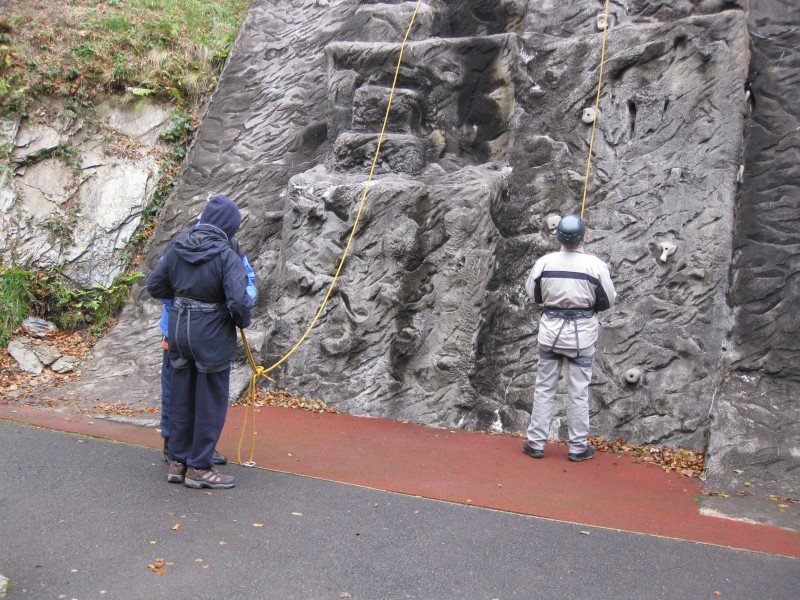 Spud helping James and Paul waiting to help on the wall climbing