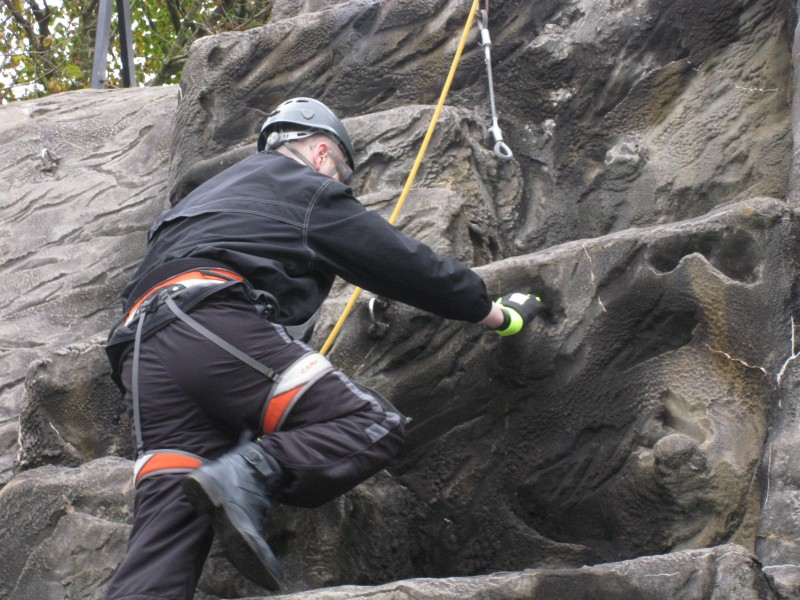 Nick rock climbing