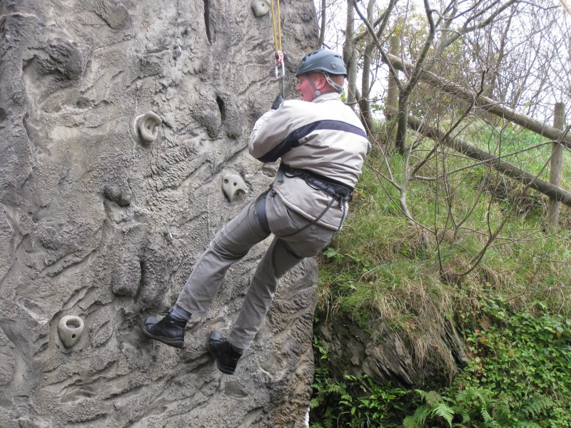 Paul abseiling down