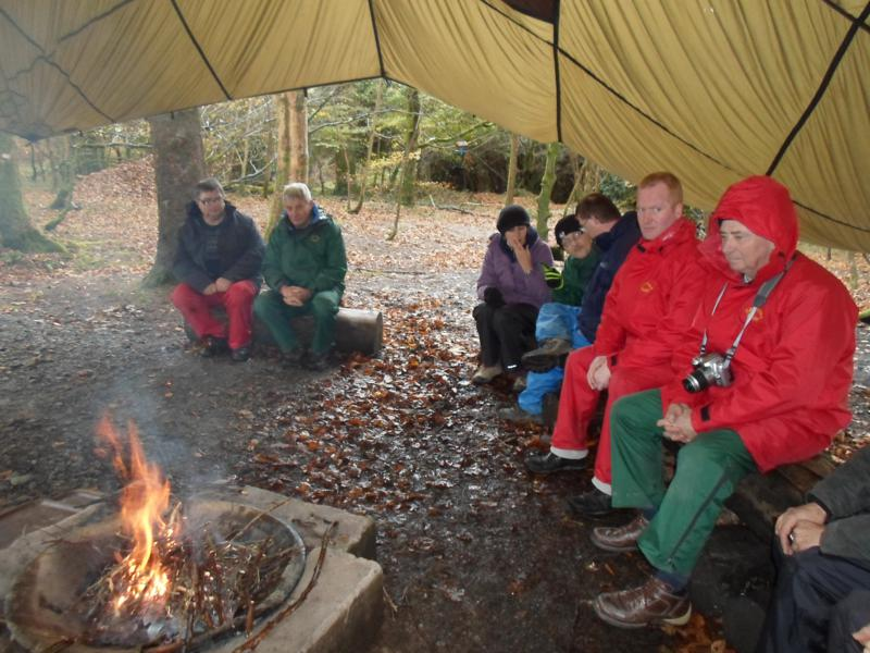 Ernest, Spud, Becky, Nick, Andrew, Paul & Russ waiting for the fire to heat up