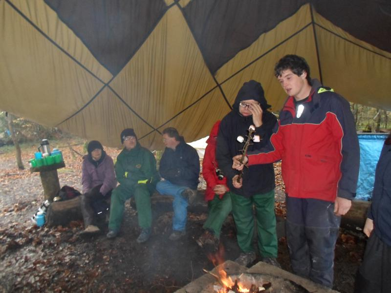 Becky, Nick, Andrew and James & Oli testing the marshmallows