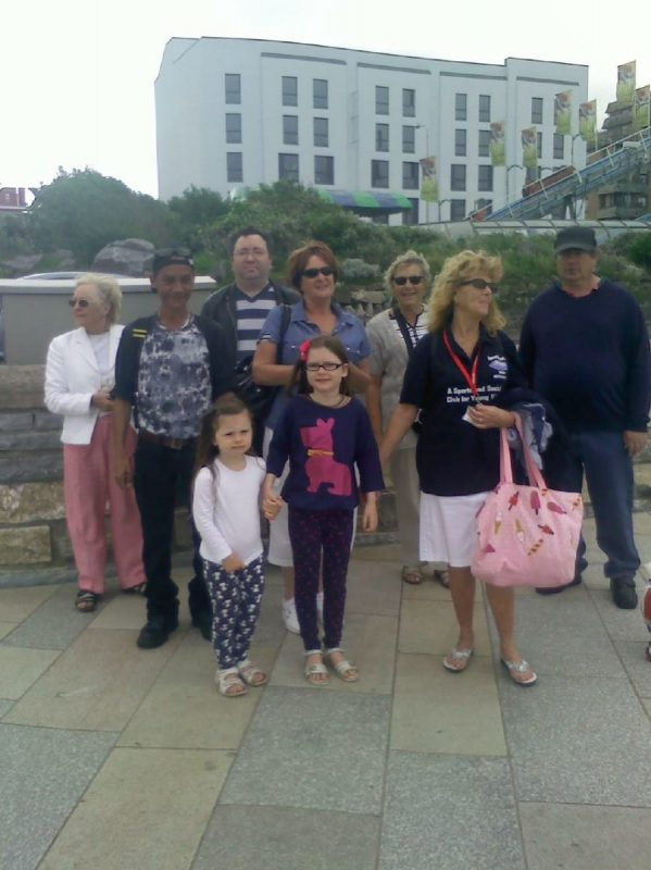 L to R Sylvia, Warren, Dan, Jean, Ann, Aileen, Ernest and the two little ones Holly & Poppy, Aileen's granddaughters
