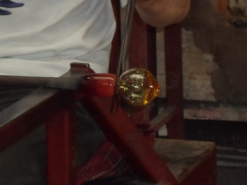 Glass being blown