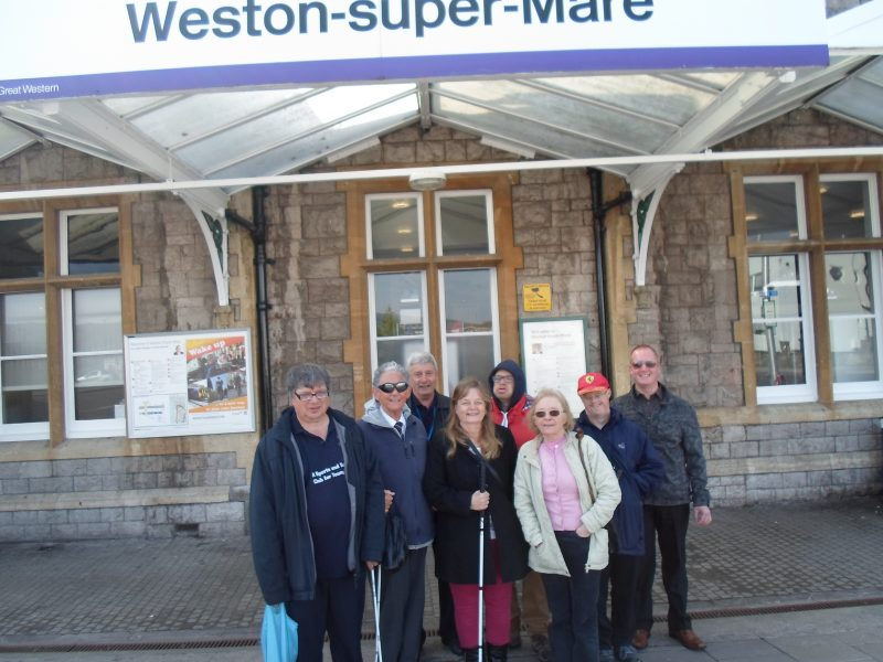 Ernest, Harry, Spud, Julie, James, Sylvia, Andrew & Paul outside Weston railway station 09.40 hrs
