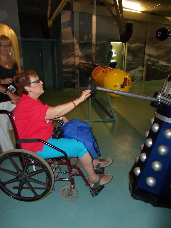 Kym making friends with a Dalek