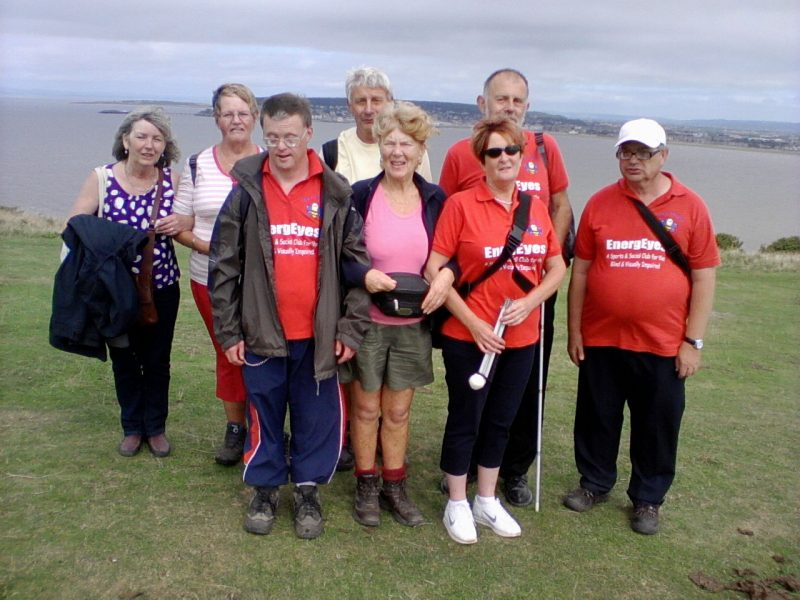 Gwen, Phyllis, Andrew, Spud, Aileen Jean, Phillip & Ernest with Weston-super-Mare in the background