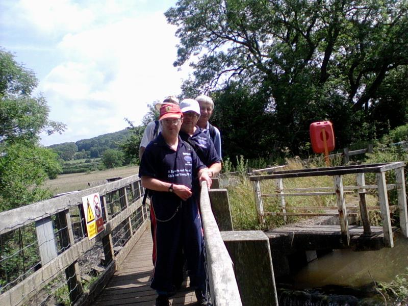 Andrew, Ernest, Spud & Phillip by the weir at Congresbury