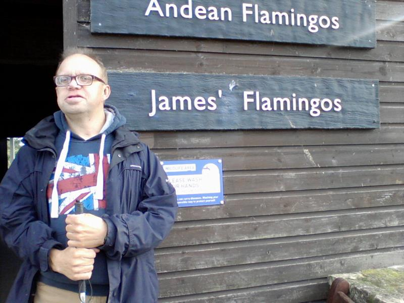 James outside the nesting flamingo hut