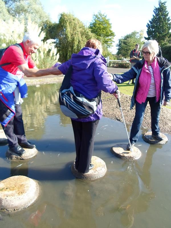 Spud, Jean & Jane on the stepping stones