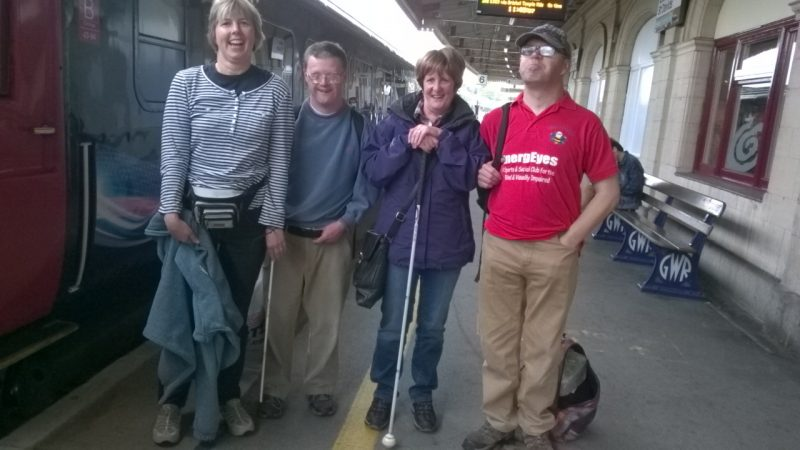 Su Camper, Andrew Lindell, Jean Bless and James Derrick on the platform at Exeter St David's Railway Station at the beginning of their holiday