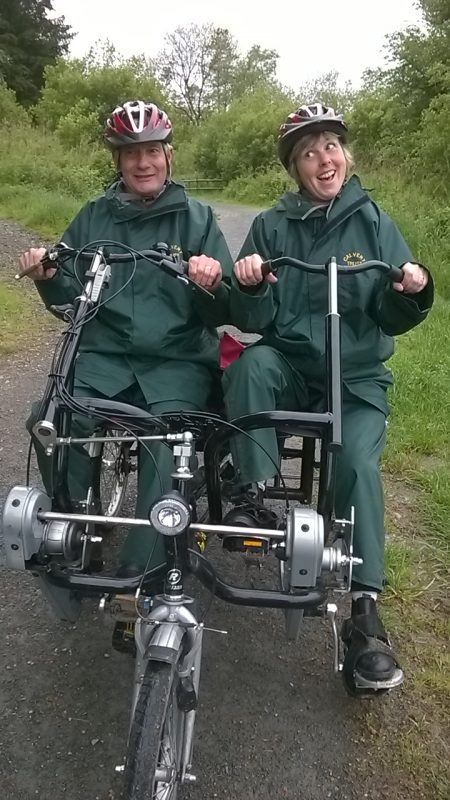 Spud and Su riding the side by side tandem bike which cost upwards of £6,000 to purchase. Wow!!