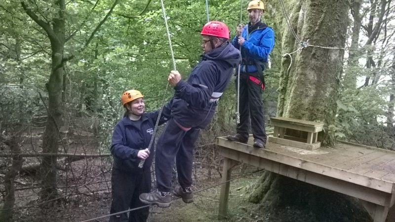 Charlotte and Alun helping James once he was on the low ropes.