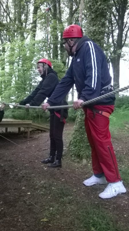 Su and Matthew. Su was very naughty wobbling the rope and, therefore, Matthew is very unsteady!