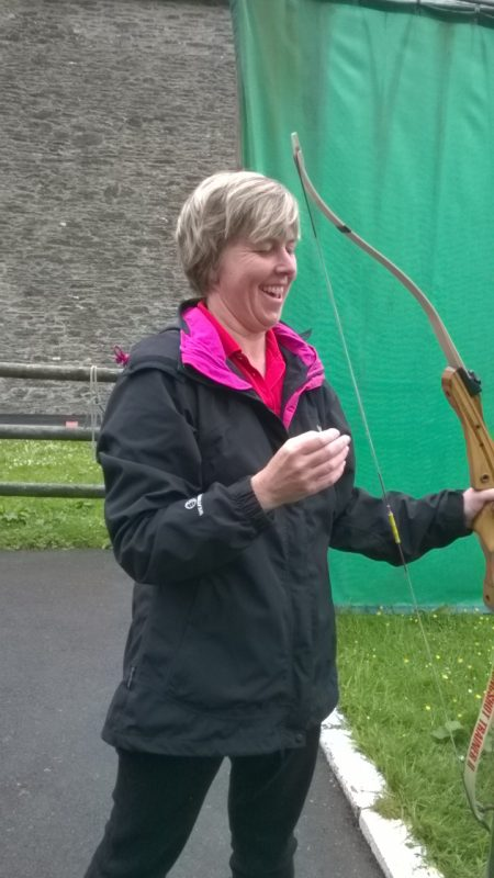 Su after completing her archery. Doesn't she look happy!