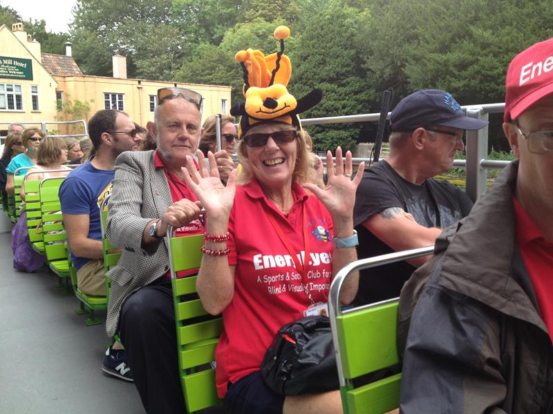 Aileen on open top bus Cheddar Gorge