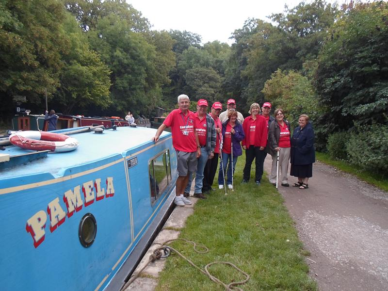 The group on top of  Dundas Aqueduct. We made it this far and were still in one piece. Us and Pamela!