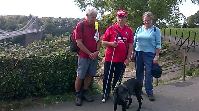 Spud, Ernest, Orla and Phyllis with a view of Bristol Suspension Bridge in the background