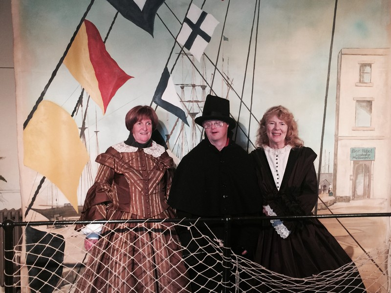 Jean, Andrew & Aileen dressed in period costume