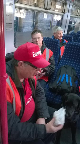Ernest, Andrew and Spud aboard the train to Cardiff