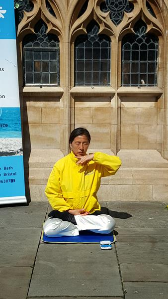 Lady meditating, Kingston Square, Bath