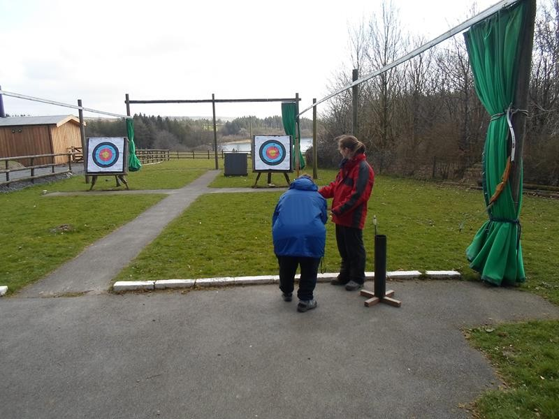 Jayne trying out the archery course.