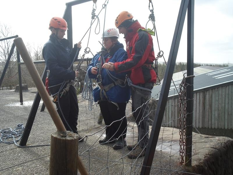 Jayne trying out abseiling. Brave lady!