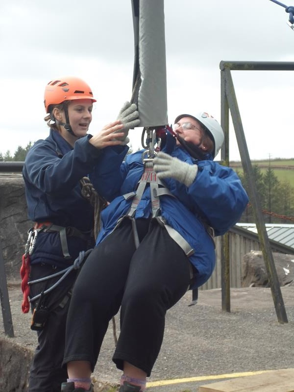 Jayne on the zip wire! Whatever will she try next.............