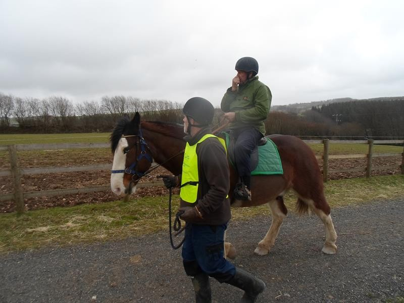 Tony being very brave, he's never ridden a horse before, at his age too!