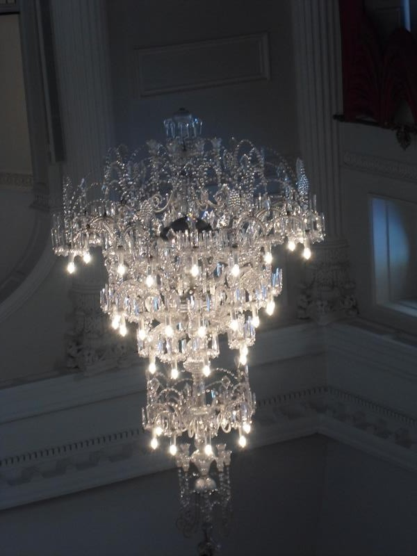 A chandalier in the Pump Room, Bath