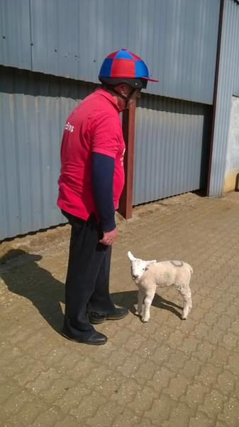 Ernest with one of the lambs