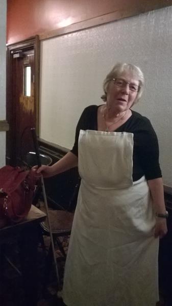 Ann in her Maria outfit in The Drawbridge pub, Bristol