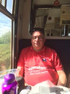 Matthew on the train on the West Somerset Railway
