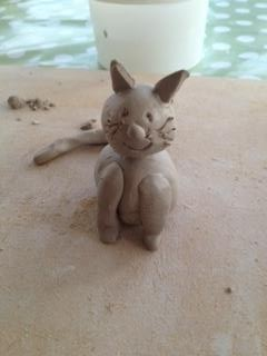 Kym's cat before it was fired in the kiln