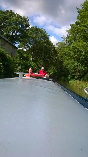 Paul and Spud navigating the canal