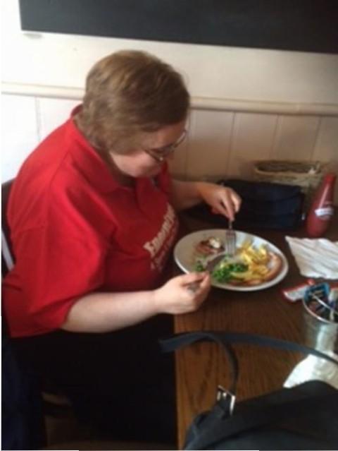 Jayne enjoying her meal.
